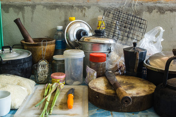 Pile of dirty dishes in the kitchen - Compulsive Hoarding Syndro