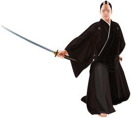 刀を抜く武士