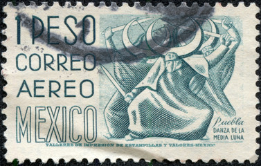 stamp printed in Mexico, shows Puebla, Dance of the Half Moon
