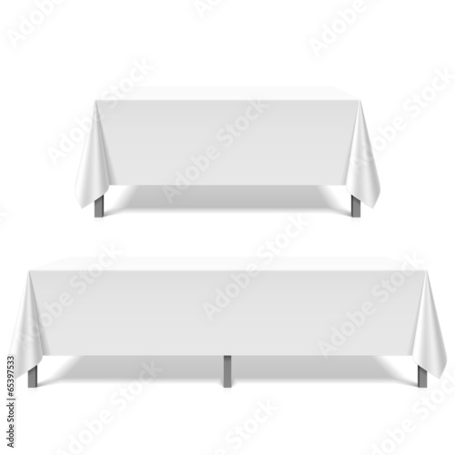 Big tables covered with white tablecloth - 65397533