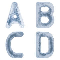 Letters A,B,C and D in ice