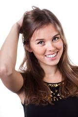 Blonde woman touching her hair
