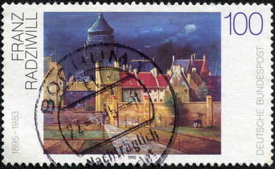 stamp shows The Water Tower in Bremen, by Franz Radziwill