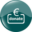 Donate sign icon. Euro eur symbol. Green shiny button. website