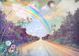 Fototapety Street in the countryside with rainbow