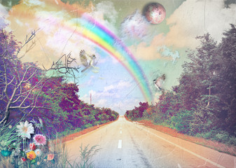 Street in the countryside with rainbow