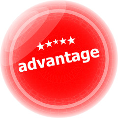 advantage word red stickers, icon button