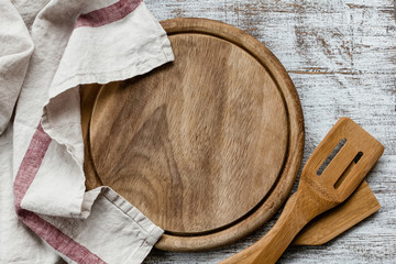 Empty cutting board on kitchen table