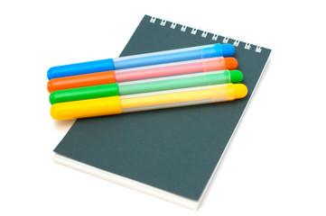 felt-tip pens on notebook