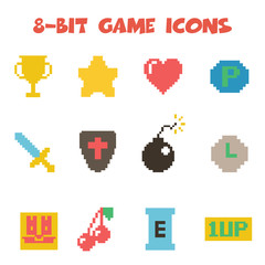 8 bit item icons color