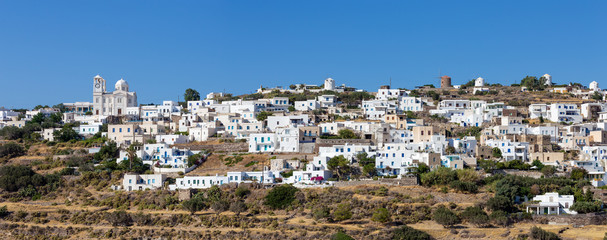Panorama of Tripiti village, Milos island, Cyclades, Greece