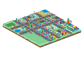 game assets isometric block cartoon city element