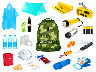 Backpack with survival kit objects