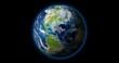 4K - Planet Earth rotates on black BG
