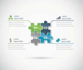 Green and blue puzzle piece infographics business concept vector