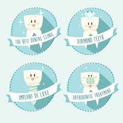 concept of healthy teeth, icon set, vector illustration
