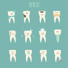 teeth  icon set, (concept of healthy)  vector illustration