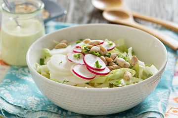 Salad with fresh cabbage, radishes
