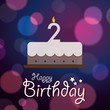 Happy 2nd Birthday - Bokeh Vector Background with cake.