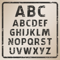 Vector set of rubber stamp alphabet