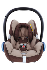 An isolated brown infant carrier and car seat