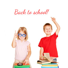 Happy children with books. Back to school