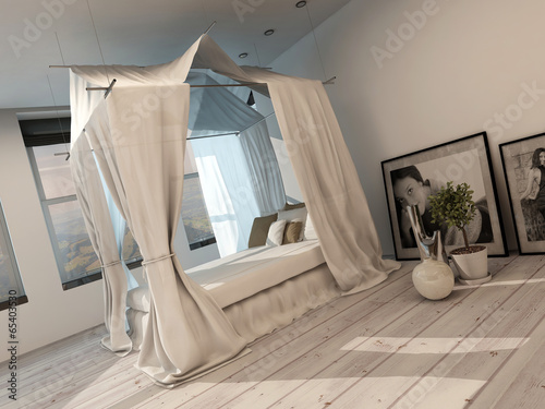 Stylish modern bedroom interior with a four poster