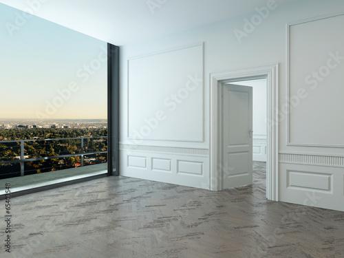 Empty room interior with large window