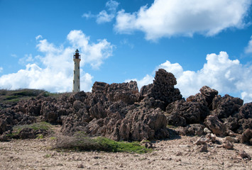 California Lighthouse Landmark on Aruba Caribbean