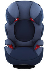 An isolated blue child car seat