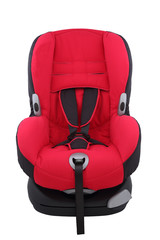 Red toddler car seat on isolated white background