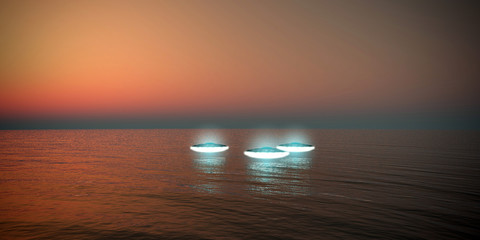 ufo flying over the sea