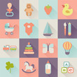 set of flat baby icons