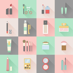 set of flat beauty and makeup icons
