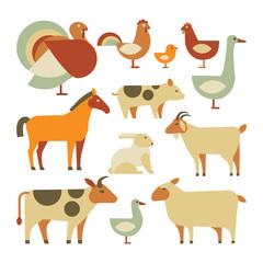 set of farm animals. isolated on white