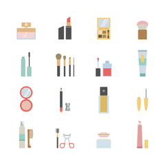set of beauty and makeup icons