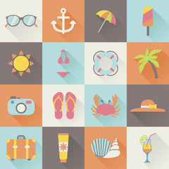 set of flat beach summer holiday icons