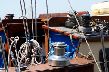 Old sailboat equipment for yacht control - winches,ropes