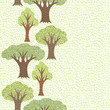 Seamless abstract textile pattern with various trees.