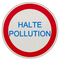 panneau halte pollution