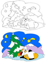 Coloring illustration of penguin at Christmas