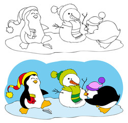 Cute penguins making a snowman, coloring