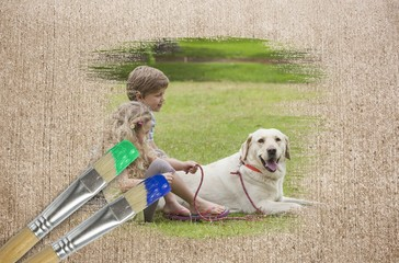 Composite image of siblings and their dog