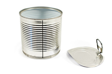 Open empty tin can isolated on white