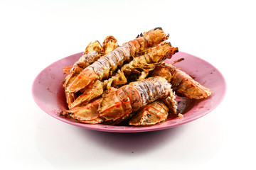 Fried Mantis shrimp with garlic and pepper  isolate on white bac