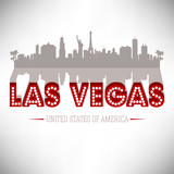 Fototapety Las Vegas USA skyline silhouette vector design.