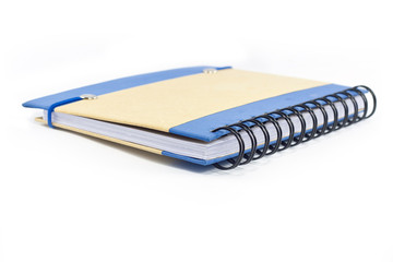 Blue note book isolated on white background