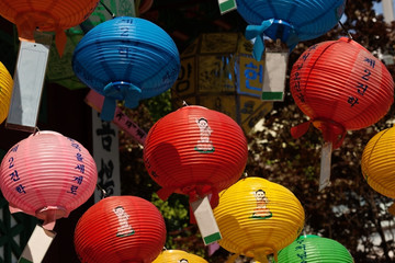 Colorful lanterns in a buddhist temple on Buddha's birthday
