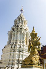 Decorative carved angels and pagoda at Thai temple