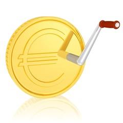 Geld und Kurbel, Wachstum stimulieren, Wirtschaft ankurbeln